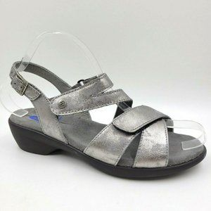 Wolky Fria Silver Metallic Leather Comfort Sandals